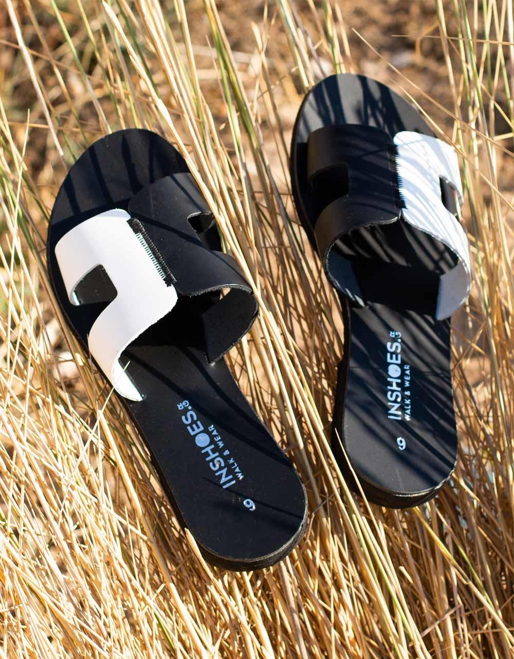 Εικόνα από Γυναικεία δερμάτινα σανδάλια δίχρωμα Μαύρο/Λευκό