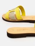 Εικόνα από Γυναικεία δερμάτινα σανδάλια δίχρωμα Κίτρινο/Μπεζ