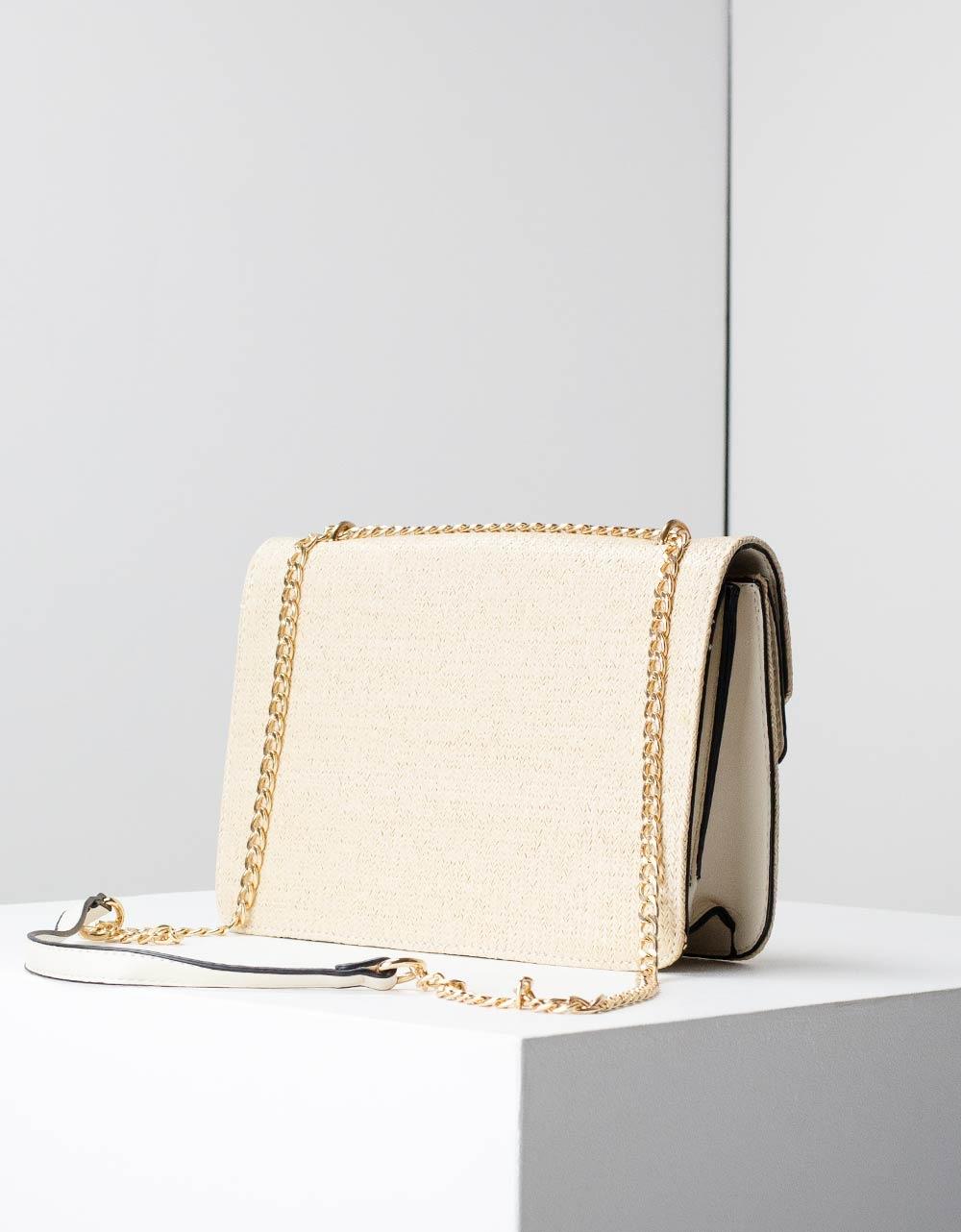 Εικόνα από Γυναικεία τσάντα ώμου ψάθα με διακοσμητικό κούμπωμα Μπεζ