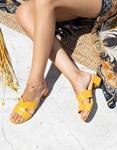Εικόνα από Γυναικεία mules με κροκό υλικό Κίτρινο