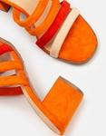 Εικόνα από Γυναικεία mules με χρωματιστές ρίγες Πορτοκαλί