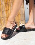 Εικόνα από Γυναικεία σανδάλια με ψάθινο υλικό Μαύρο