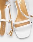 Εικόνα από Γυναικεία πέδιλα με λεπτό τακούνι και λουράκια Λευκό