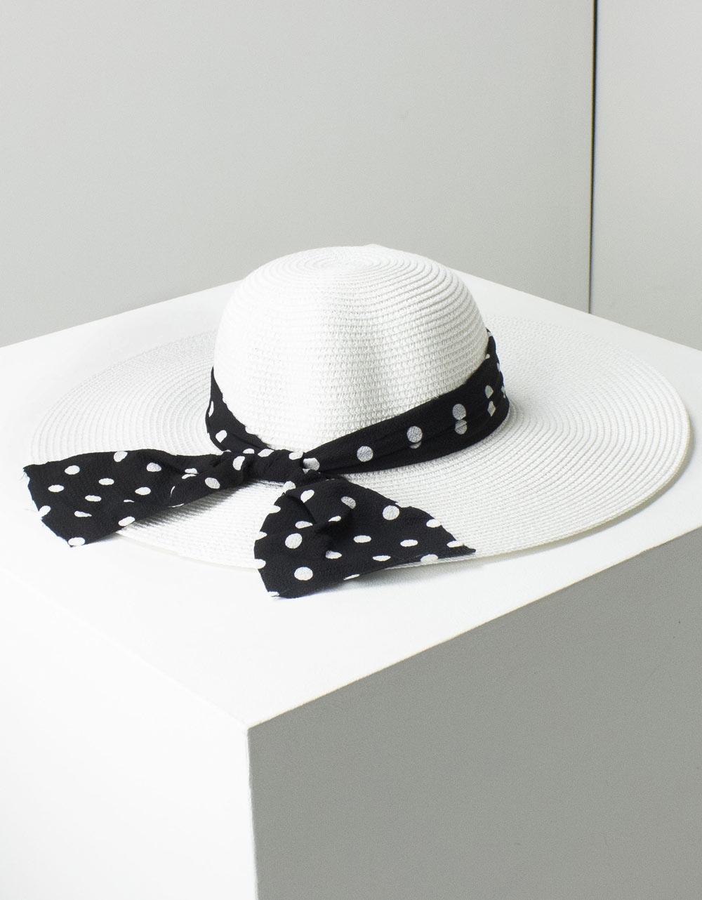 Εικόνα από Γυναικεία καπέλα με πουά φιόγκο Λευκό