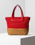 Εικόνα από Γυναικεία τσάντα ώμου με διπλό υλικό Κόκκινο
