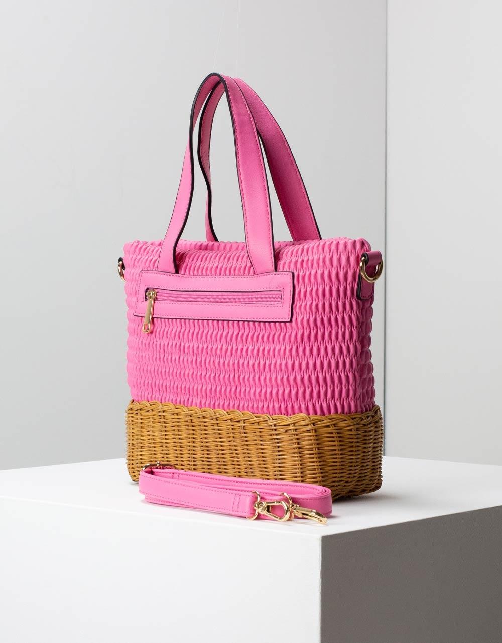 Εικόνα από Γυναικεία τσάντα ώμου με διπλό υλικό Ροζ