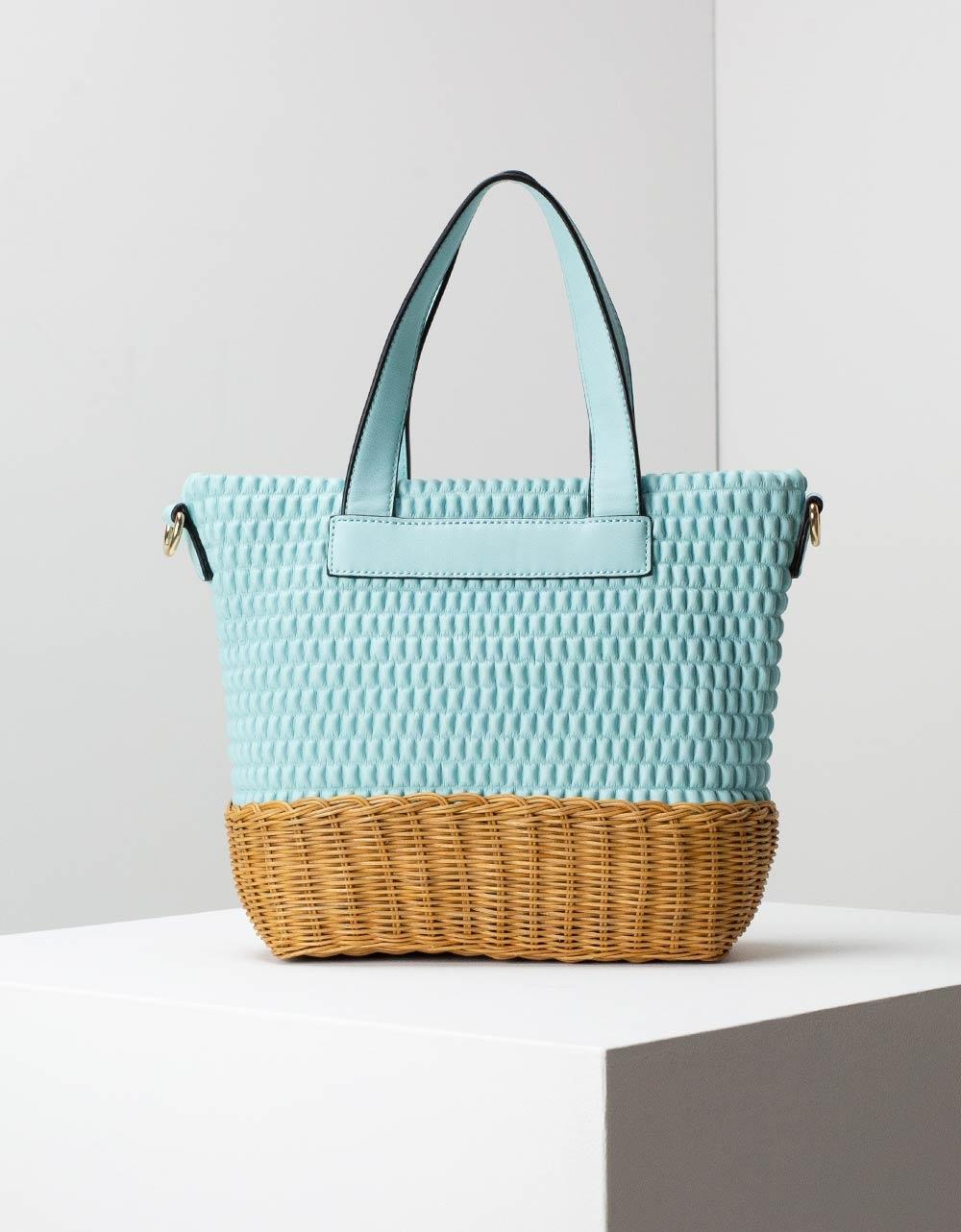 Εικόνα από Γυναικεία τσάντα ώμου με διπλό υλικό Σιέλ