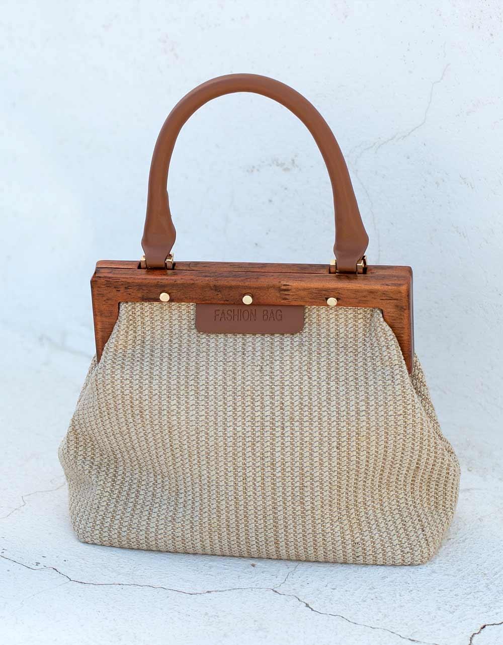 Εικόνα από Γυναικεία τσάντα χειρός μονόχρωμη Μπεζ