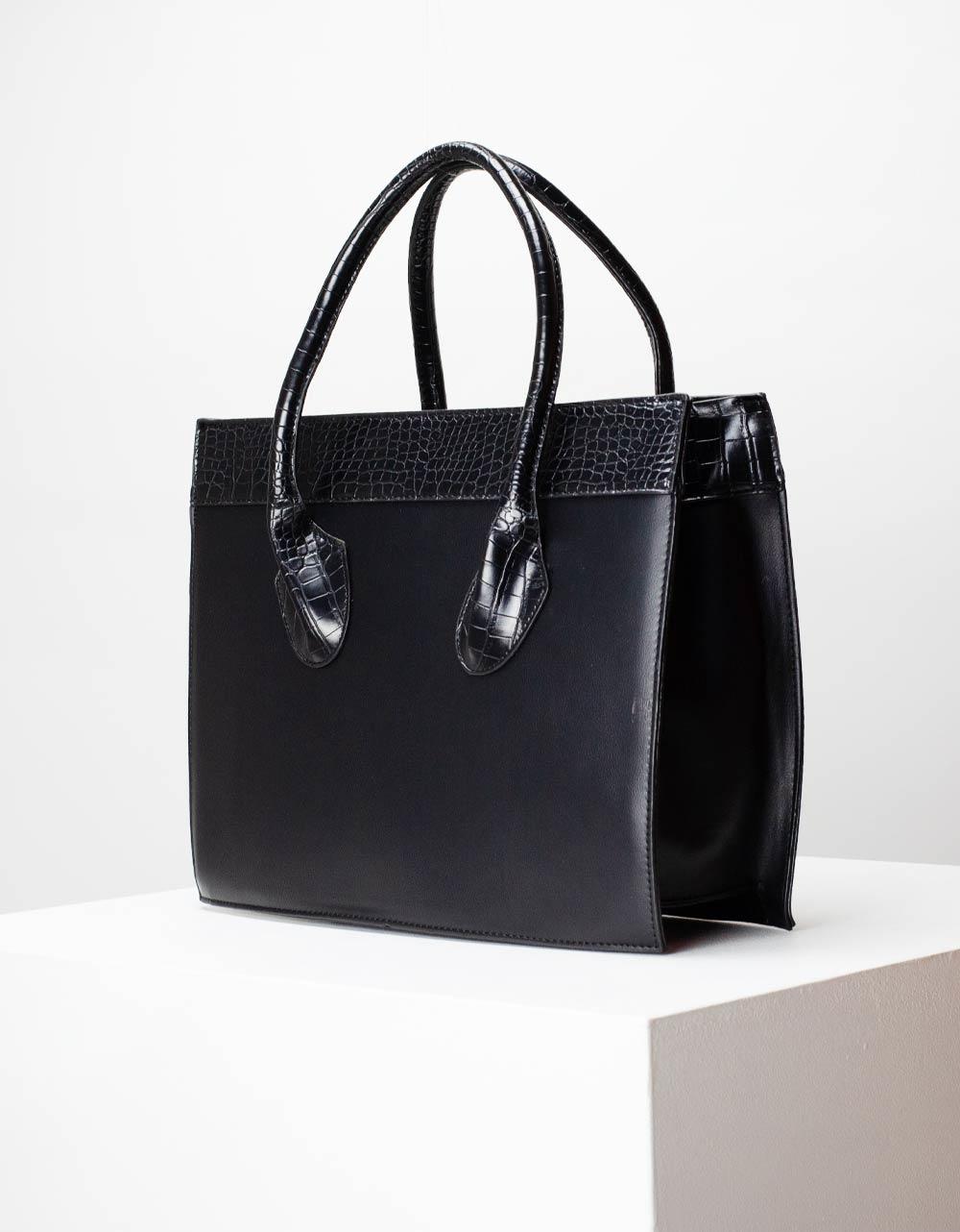 Εικόνα από Γυναικεία τσάντα χειρός με δίχρωμες κροκό λεπτομέρειες Μαύρο
