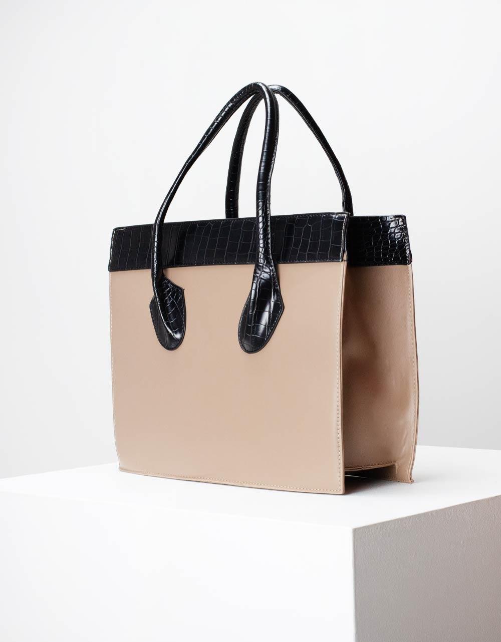 Εικόνα από Γυναικεία τσάντα χειρός με δίχρωμες κροκό λεπτομέρειες Πούρο