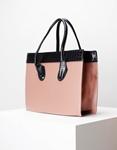 Εικόνα από Γυναικεία τσάντα χειρός με δίχρωμες κροκό λεπτομέρειες Ροζ