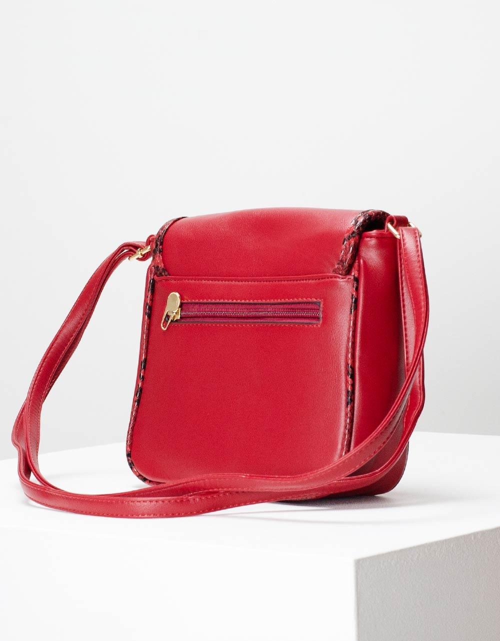 Εικόνα από Γυναικεία τσάντα ώμου με λεπτομέρειες κροκό Κόκκινο