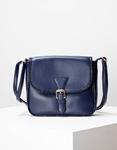 Εικόνα από Γυναικεία τσάντα ώμου με λεπτομέρειες κροκό Μπλε