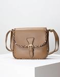 Εικόνα από Γυναικεία τσάντα ώμου με λεπτομέρειες κροκό Πούρο
