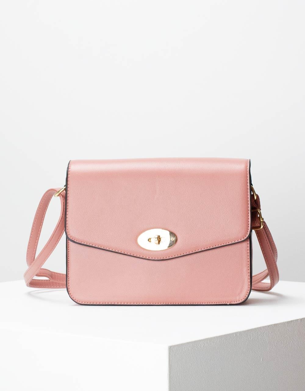 Εικόνα από Γυναικεία τσάντα ώμου μονόχρωμη Ροζ