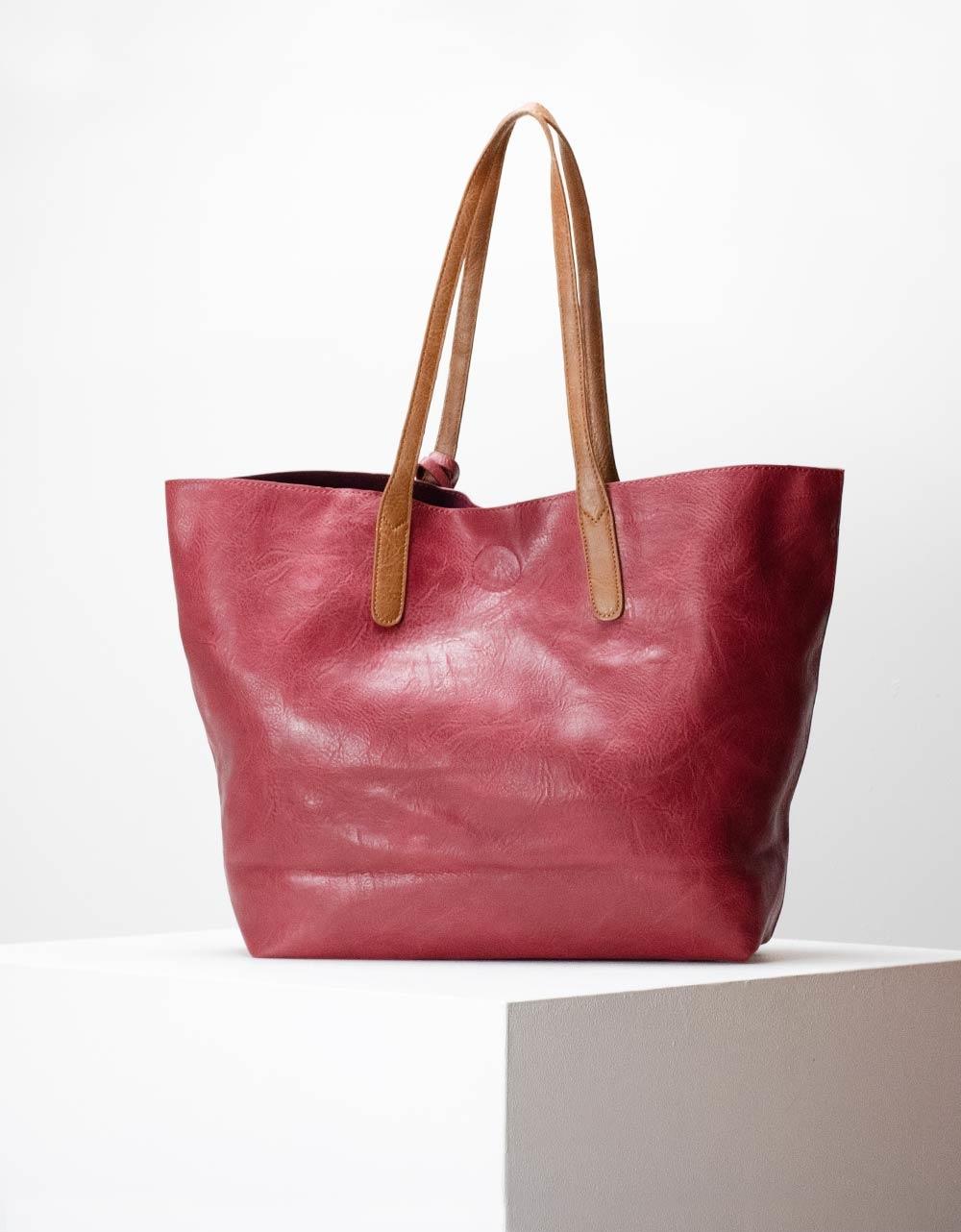 Εικόνα από Γυναικεία τσάντα ώμου σε απλή γραμμή μονόχρωμη Κόκκινο