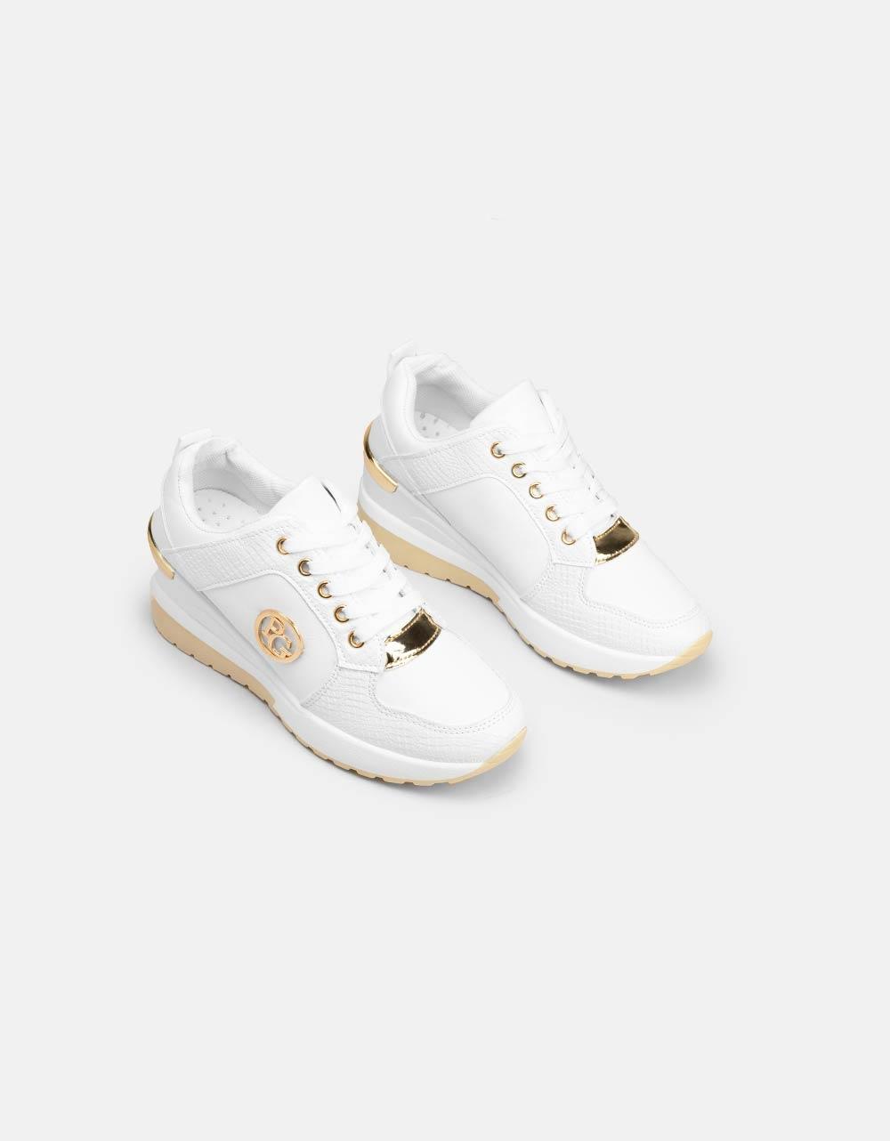 Εικόνα από Γυναικεία sneakers με κροκό λεπτομέρειες Λευκό