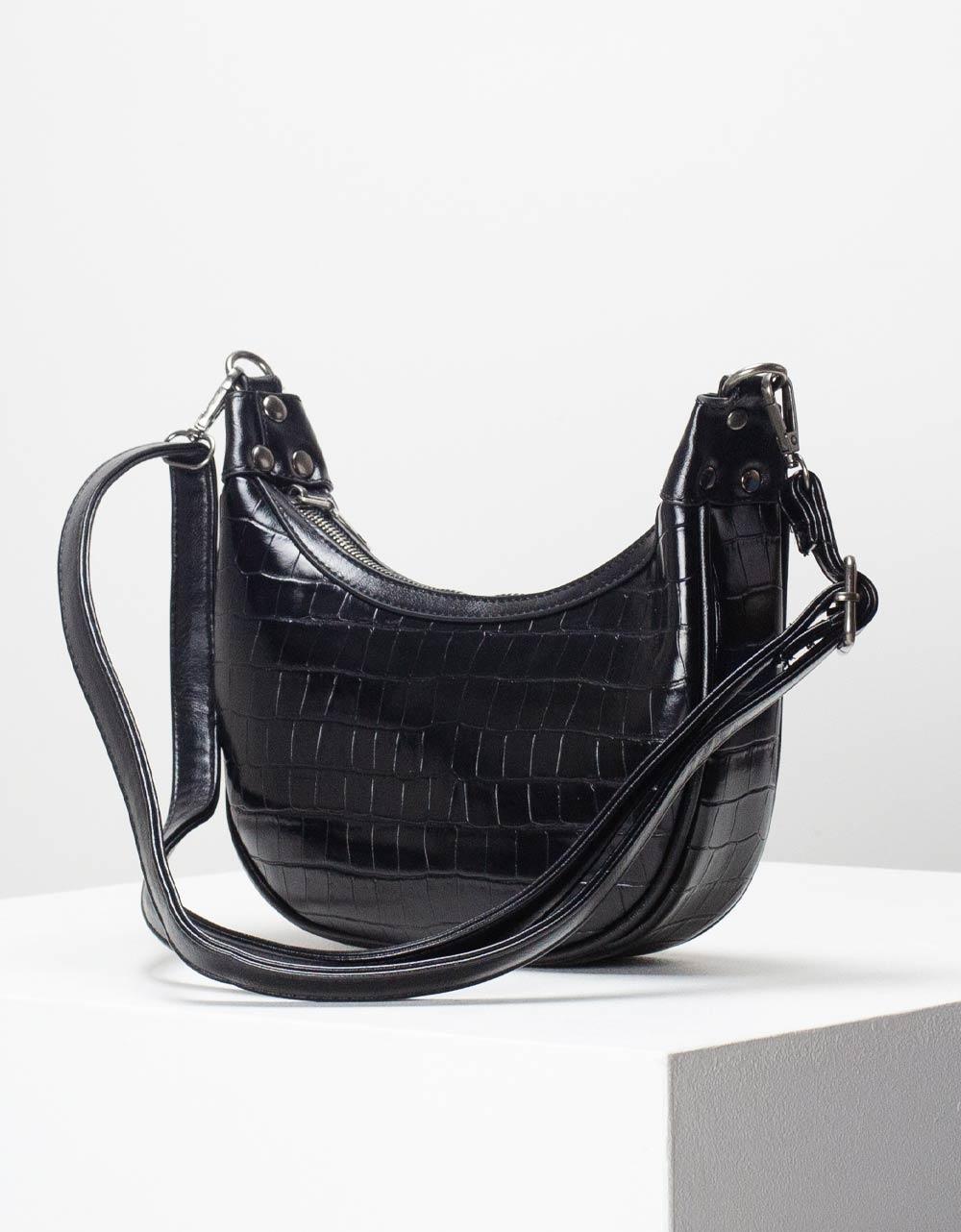 Εικόνα από Γυναικεία τσάντα ώμου & χιαστί με κροκό μοτίβο Μαύρο