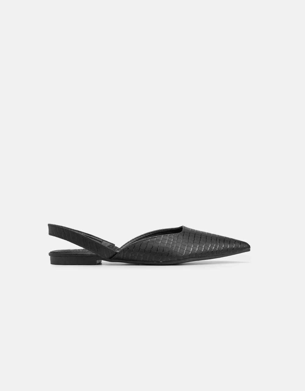 Εικόνα από Γυναικείες γόβες με χαμηλό τακούνι και κροκό μοτίβο Μαύρο