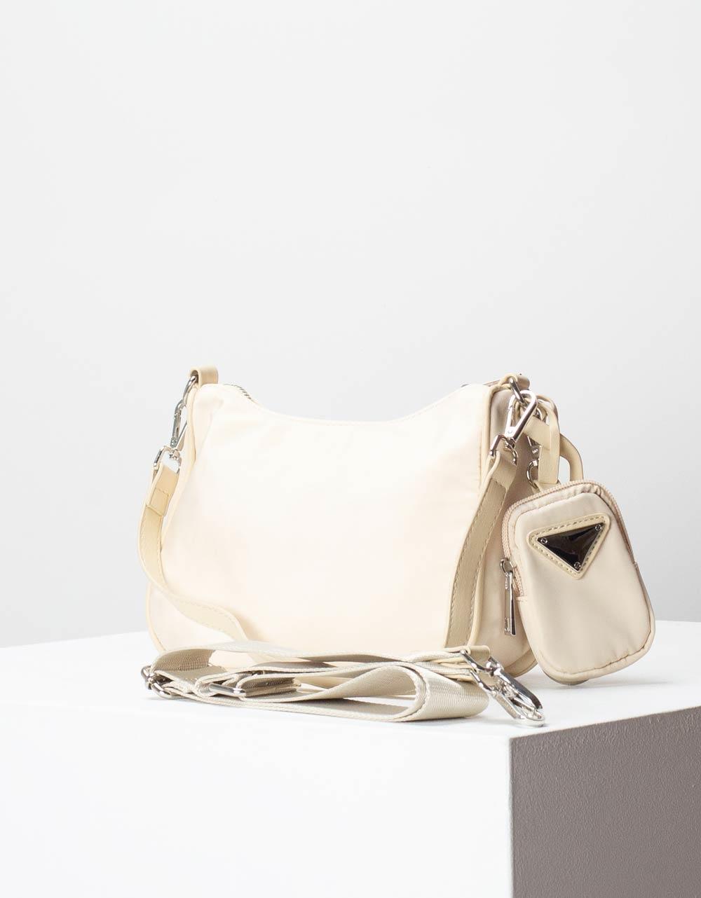 Εικόνα από Γυναικεία τσάντα ώμου & χιαστί με εξωτερικό τσεπάκι Μπεζ