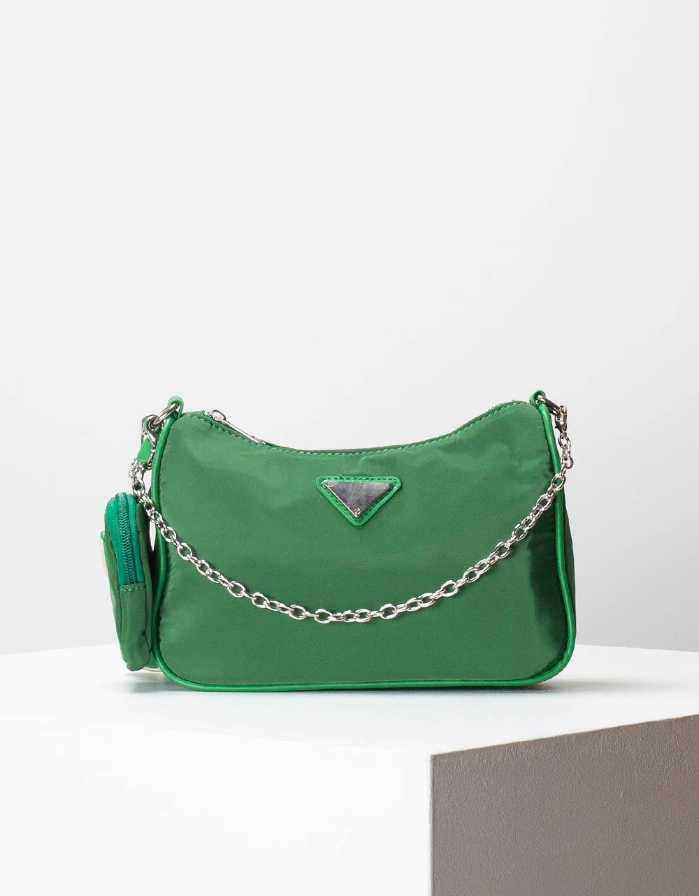Εικόνα από Γυναικεία τσάντα ώμου & χιαστί με εξωτερικό τσεπάκι Πράσινο