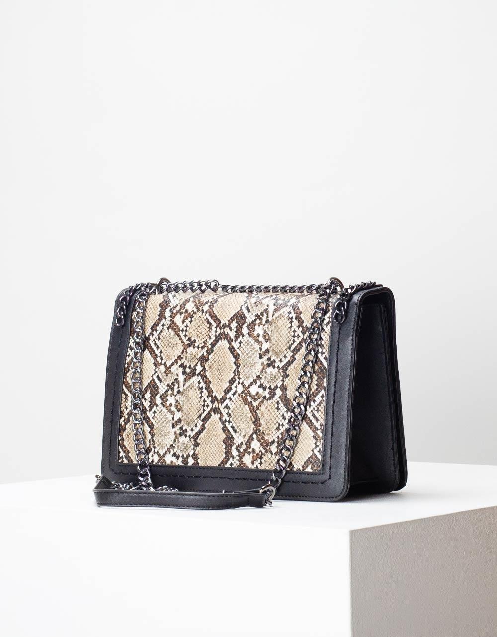 Εικόνα από Γυναικεία τσάντα ώμου & χιαστί animal print με αλυσίδα Καφέ