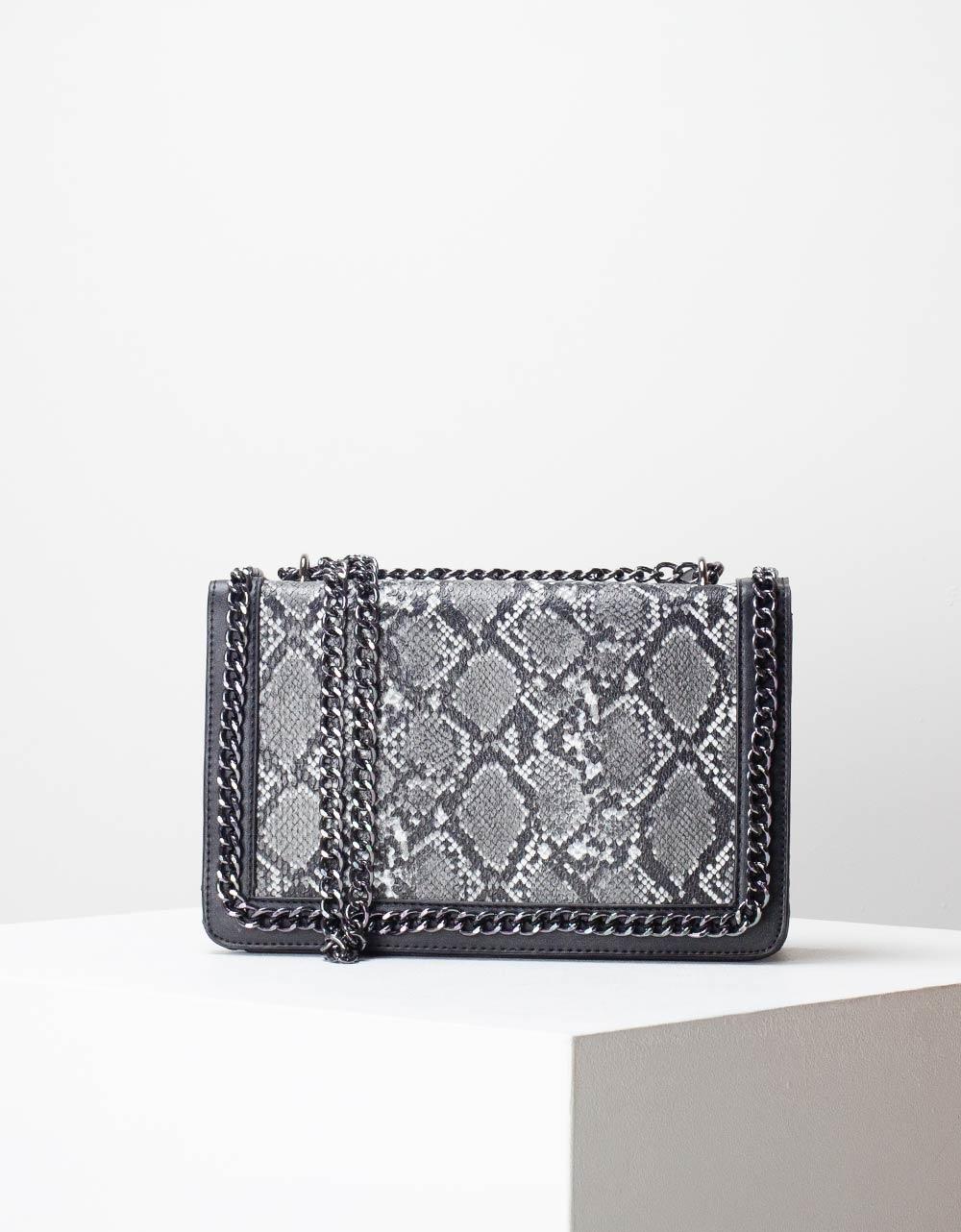 Εικόνα από Γυναικεία τσάντα ώμου & χιαστί animal print με αλυσίδα Μαύρο