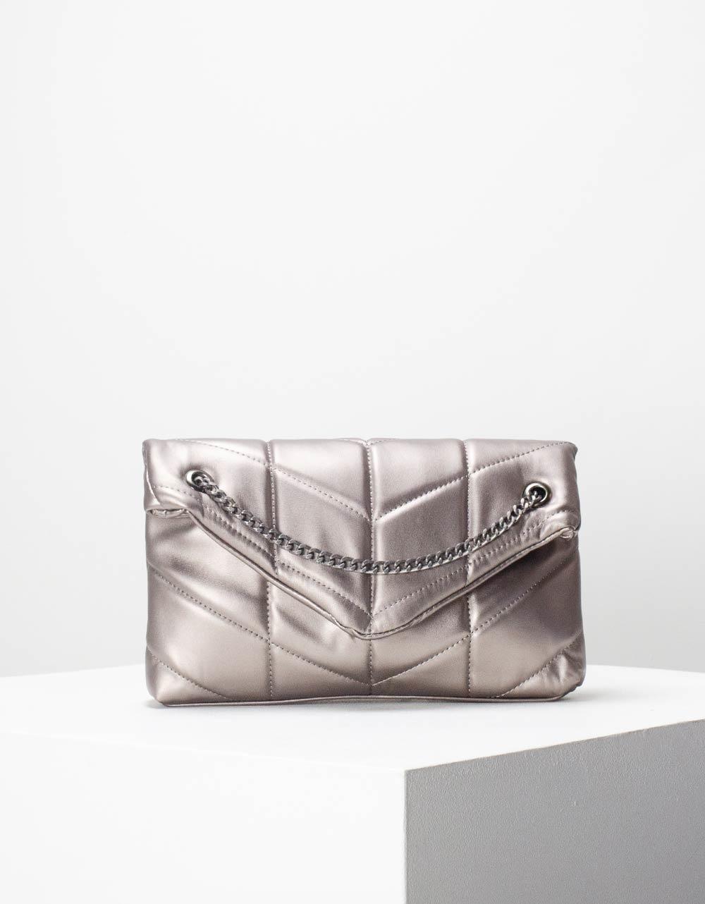 Εικόνα από Γυναικεία τσάντα ώμου & χιαστί καπιτονέ με αλυσίδα Γκρι
