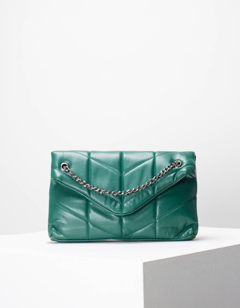 Εικόνα από Γυναικεία τσάντα ώμου & χιαστί καπιτονέ με αλυσίδα Πράσινο