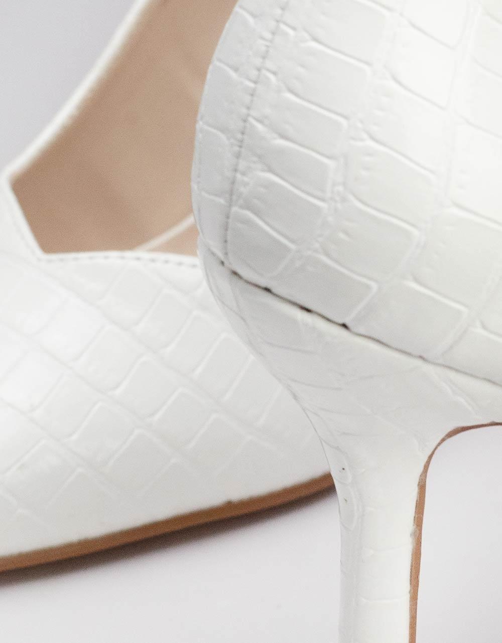 Εικόνα από Γυναικείες γόβες κροκό με ιδιαίτερο τακούνι Λευκό