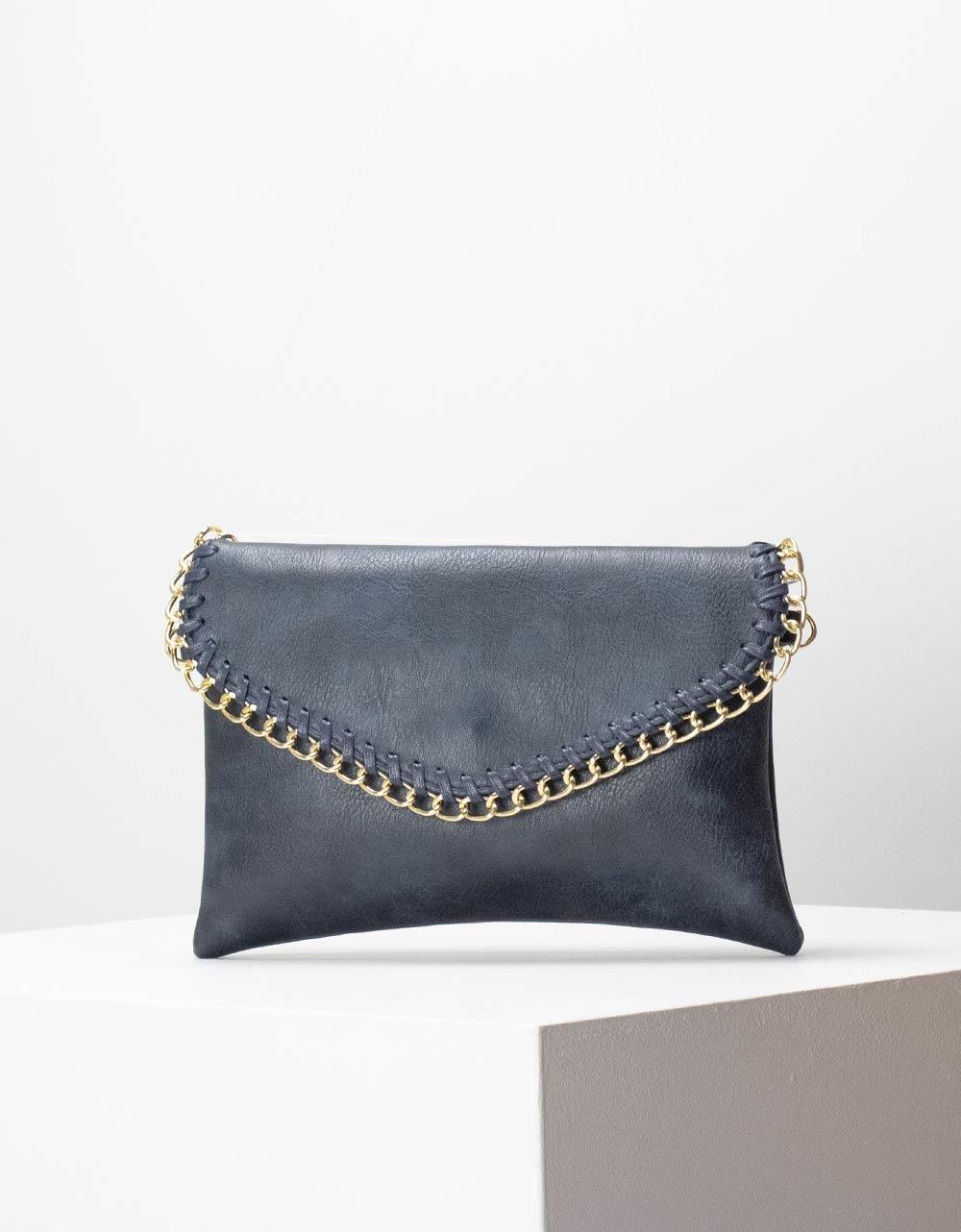 Εικόνα από Γυναικεία τσάντα ώμου με διακοσμητική αλυσίδα στο καπάκι Μπλε