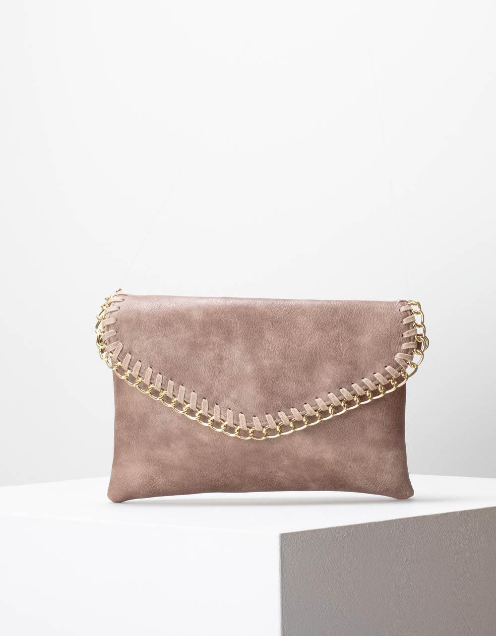Εικόνα από Γυναικεία τσάντα ώμου με διακοσμητική αλυσίδα στο καπάκι Ροζ