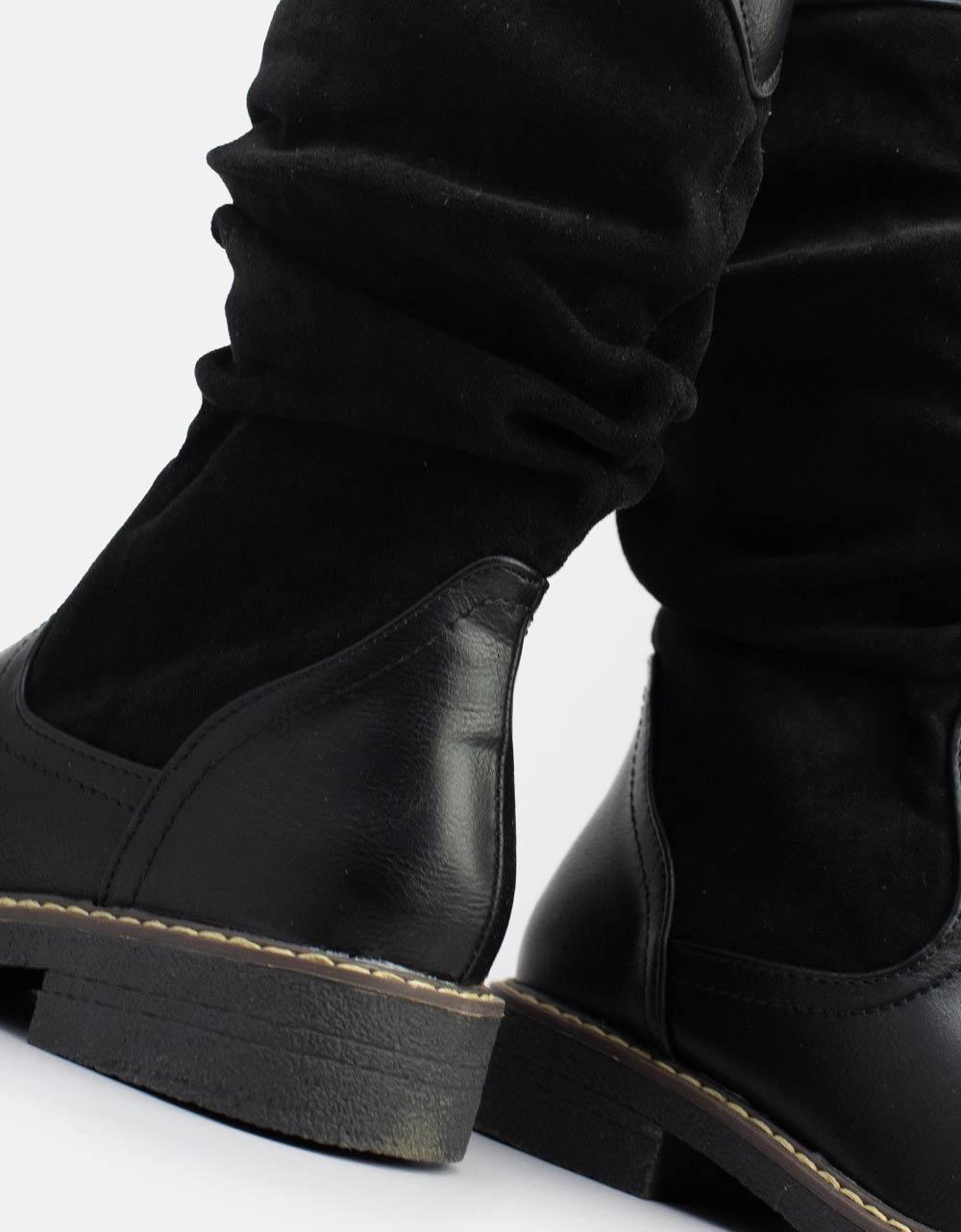 Εικόνα από Γυναικεία μποτάκια με διπλό υλικό Μαύρο