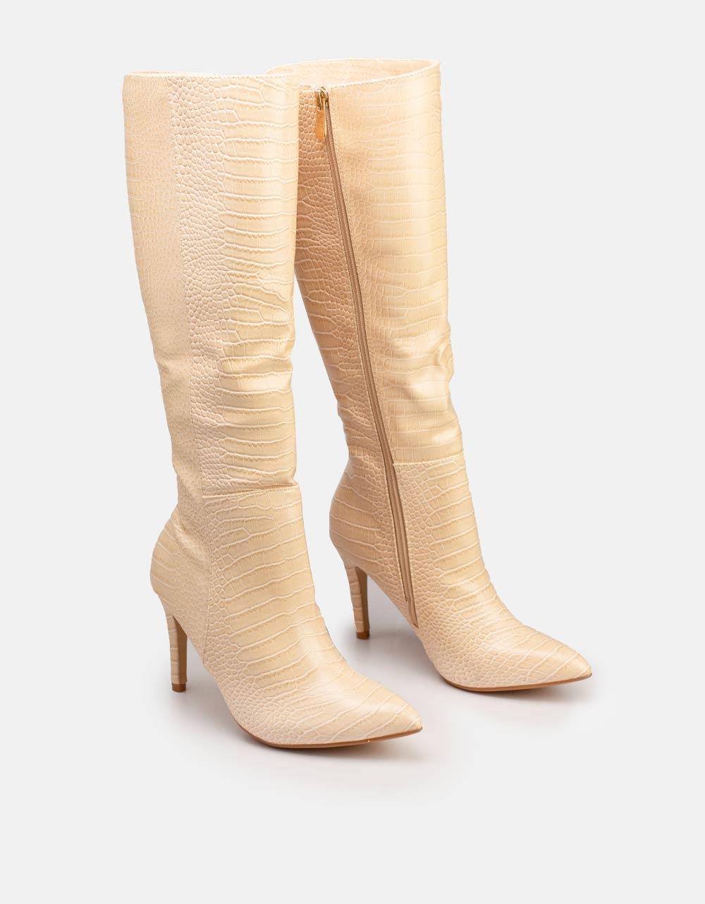 Εικόνα από Γυναικείες μπότες κροκό με λεπτό τακούνι Μπεζ