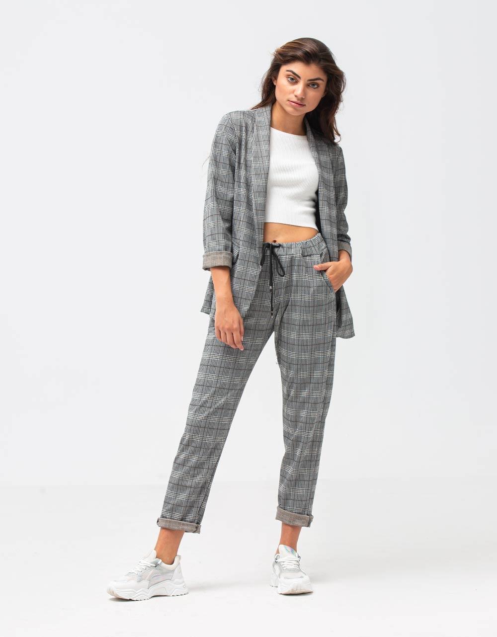 Εικόνα από Γυναικείο παντελόνι με καρό σχέδιο Γκρι