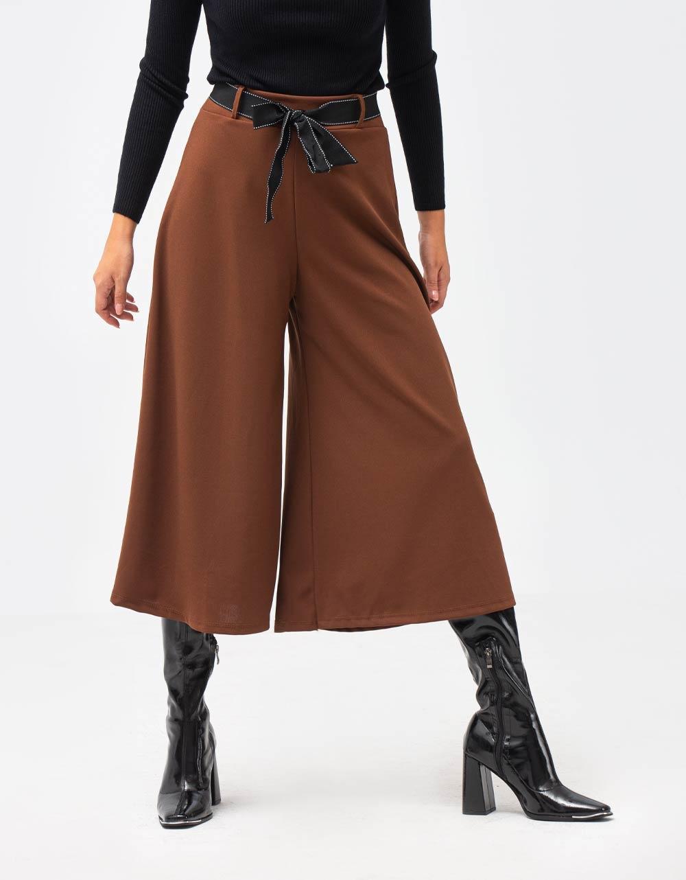 Εικόνα από Γυναικείο παντελόνι zip culottes με ζώνη Καφέ