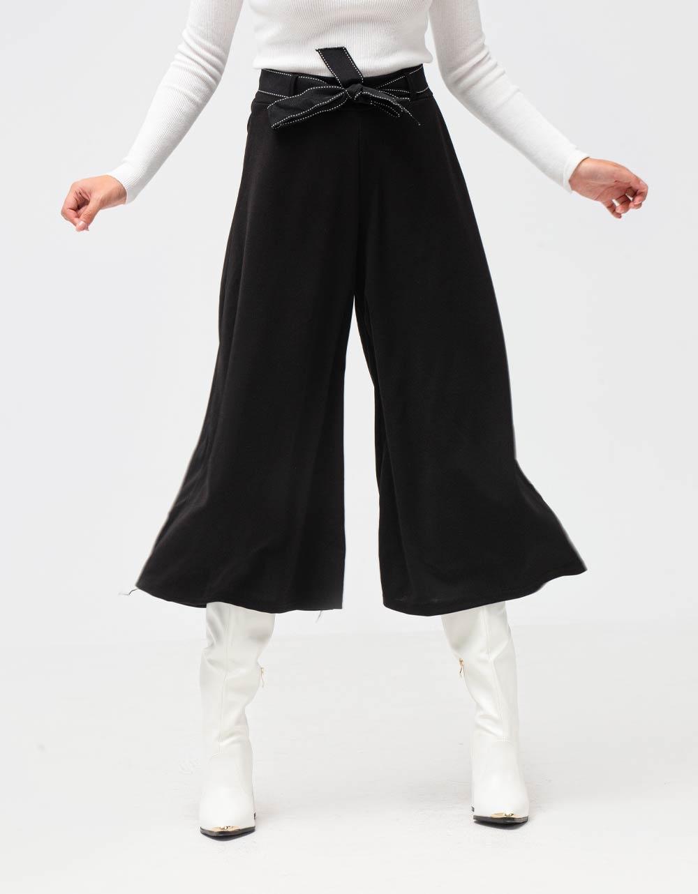 Εικόνα από Γυναικείο παντελόνι zip culottes με ζώνη Μαύρο