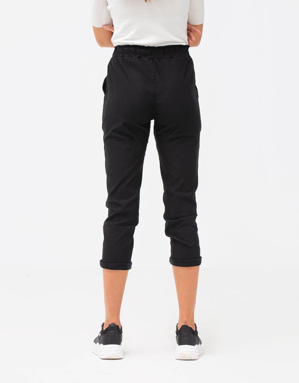Εικόνα από Γυναικείο παντελόνι με λάστιχο και κορδόνι στη μέση Μαύρο
