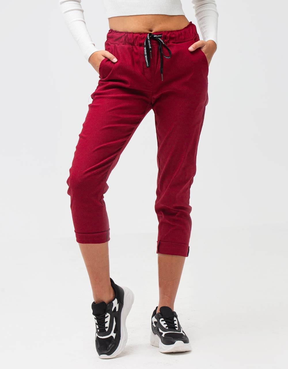 Εικόνα από Γυναικείο παντελόνι με λάστιχο και κορδόνι στη μέση Μπορντώ