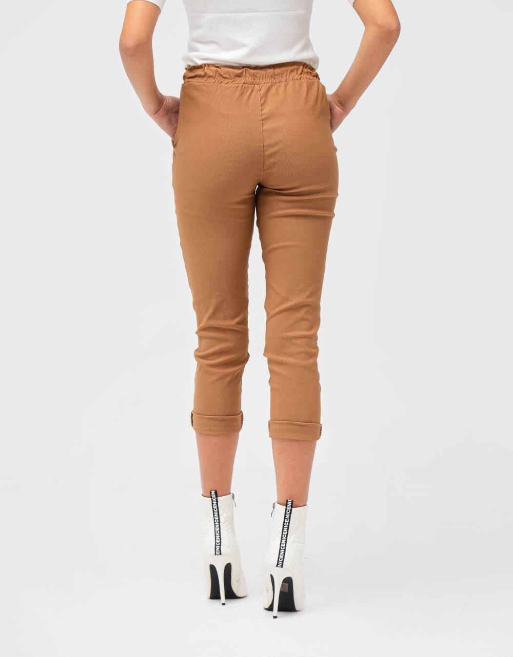 Εικόνα από Γυναικείο παντελόνι με λάστιχο και κορδόνι στη μέση Πούρο