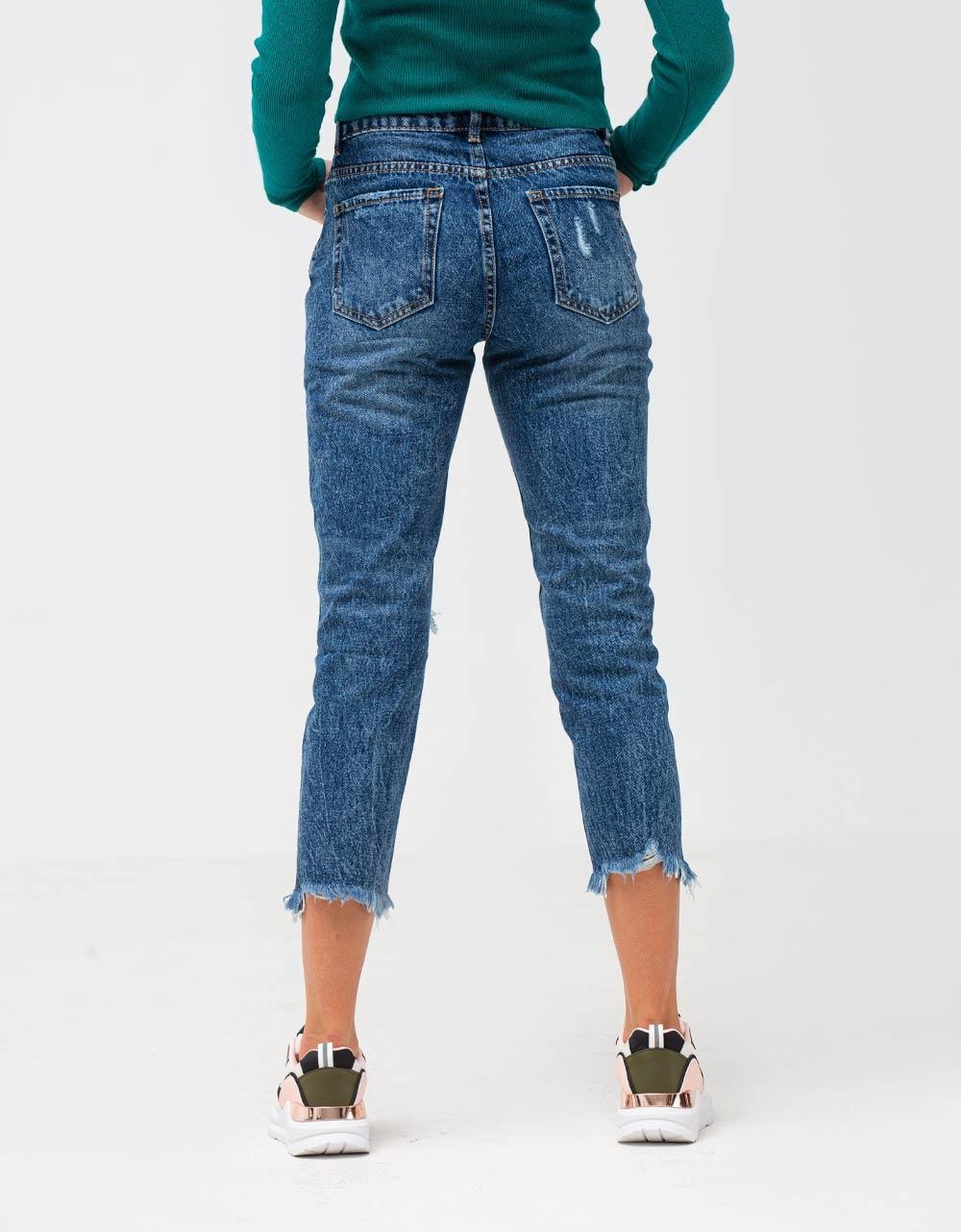 Εικόνα από Γυναικείο παντελόνι ψηλόμεσο με σκισίματα Τζιν