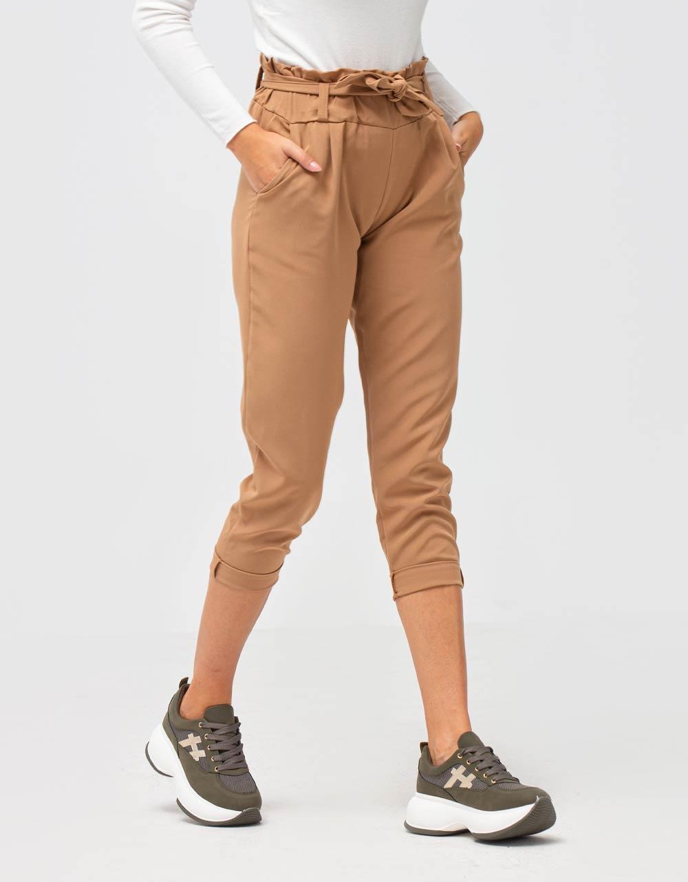 Εικόνα από Γυναικείο παντελόνι ψηλόμεσο Μπεζ