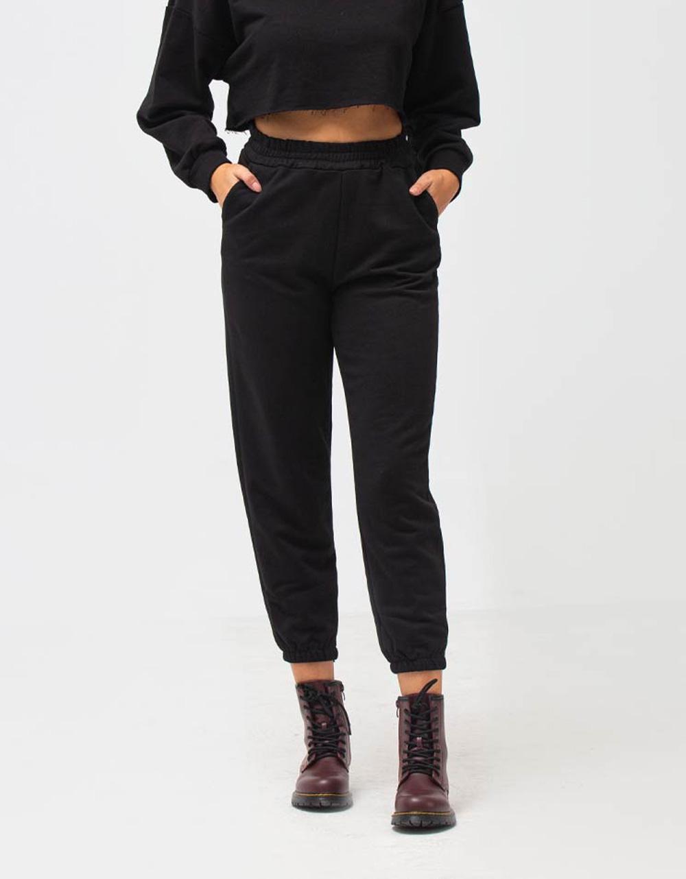 Εικόνα από Γυναικείο παντελόνι φούτερ με λάστιχο Μαύρο