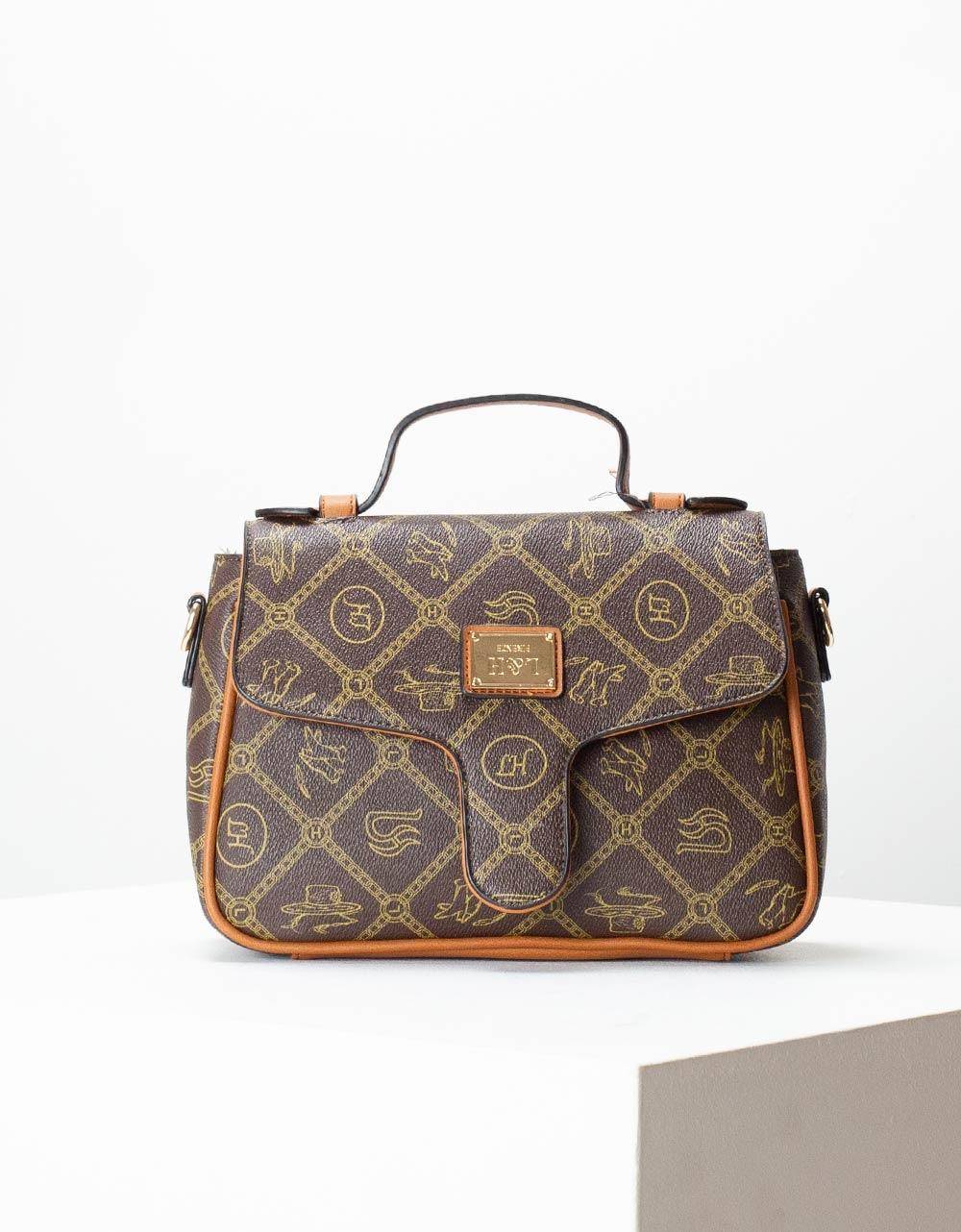 Εικόνα από Γυναικεία τσάντα χειρός με μοτίβα Καφέ/Ταμπά