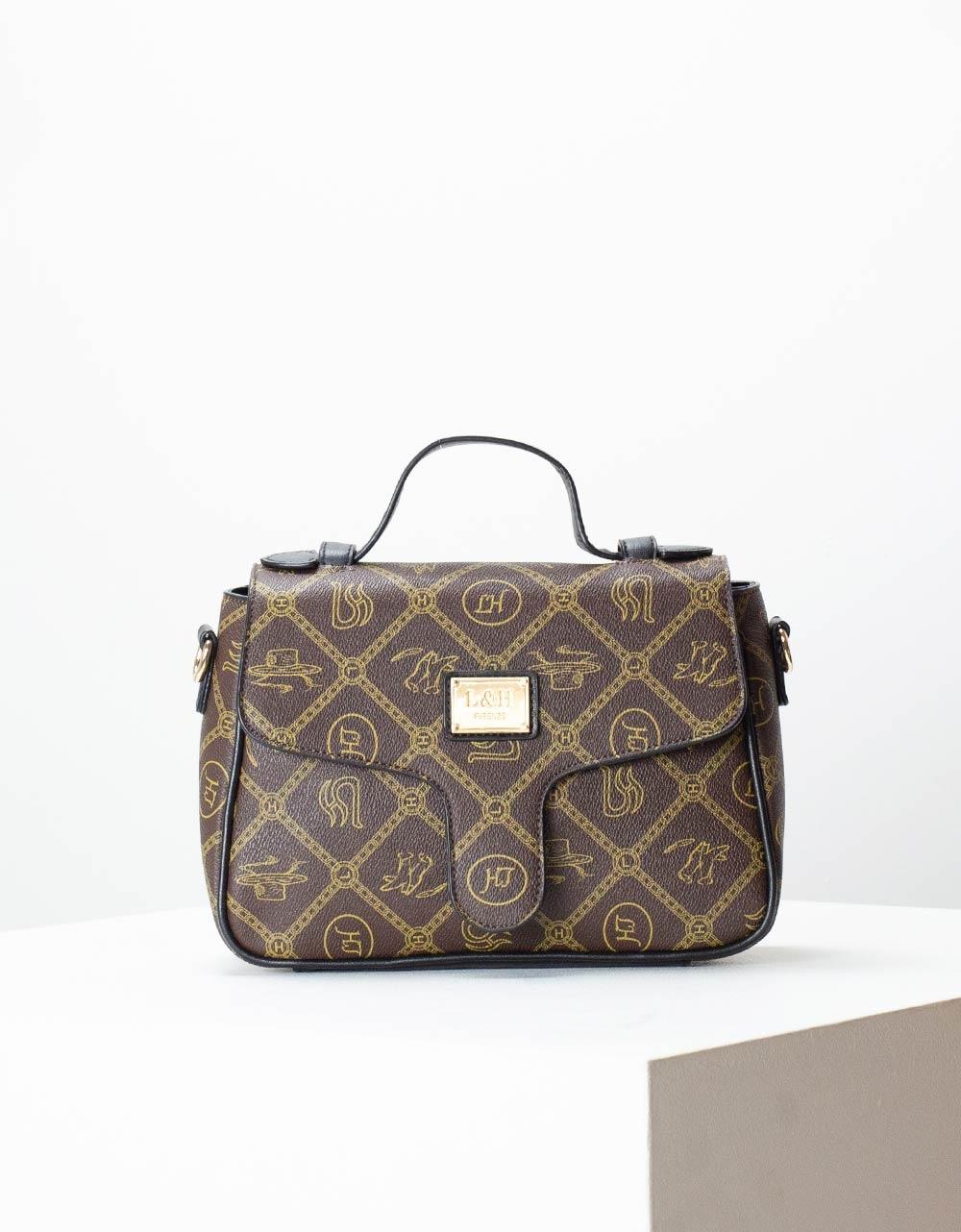Εικόνα από Γυναικεία τσάντα χειρός με μοτίβα Καφέ/Μαύρο