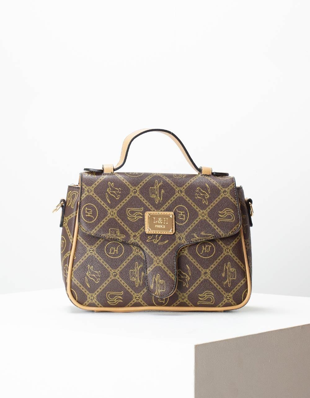 Εικόνα από Γυναικεία τσάντα χειρός με μοτίβα Κάφε/Πούρο