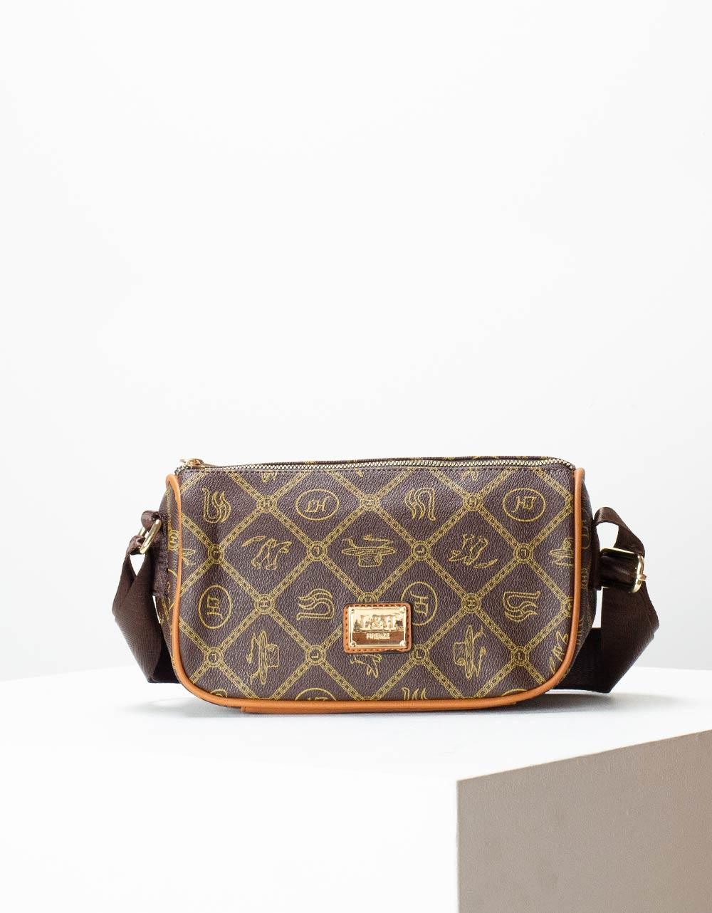 Εικόνα από Γυναικεία τσάντα ώμου & χιαστί με μοτίβο Καφέ/Ταμπά