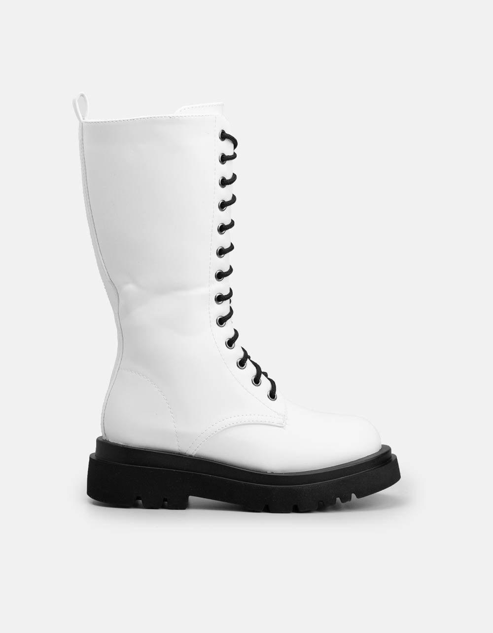 Εικόνα από Γυναικείες μπότες με κορδόνια Λευκό