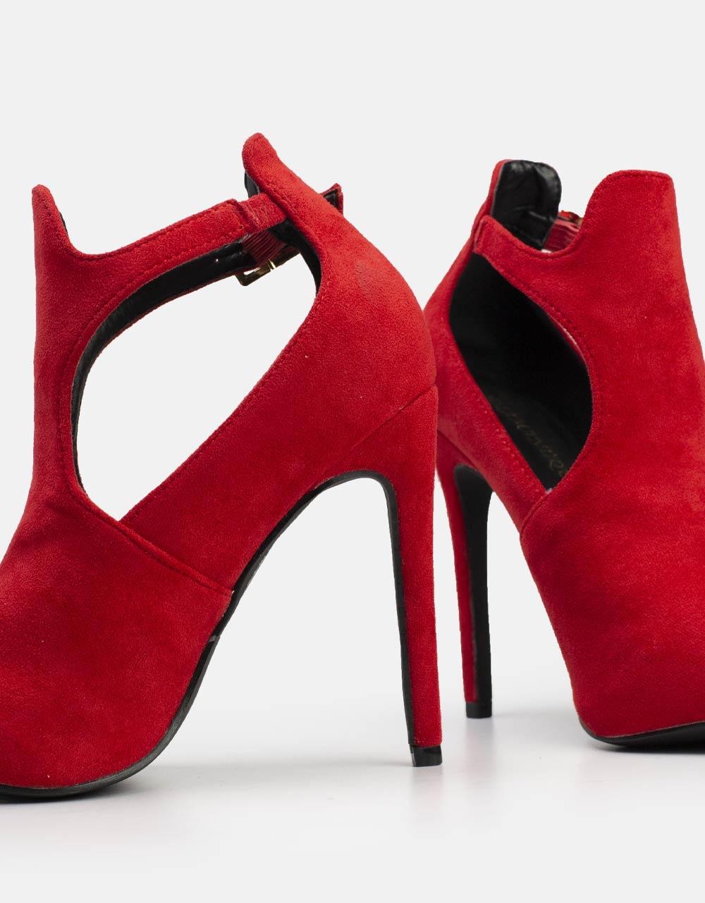 Εικόνα από Γυναικεία ημιμποτάκια suede με πλαϊνό άνοιγμα και λεπτό τακούνι Κόκκινο