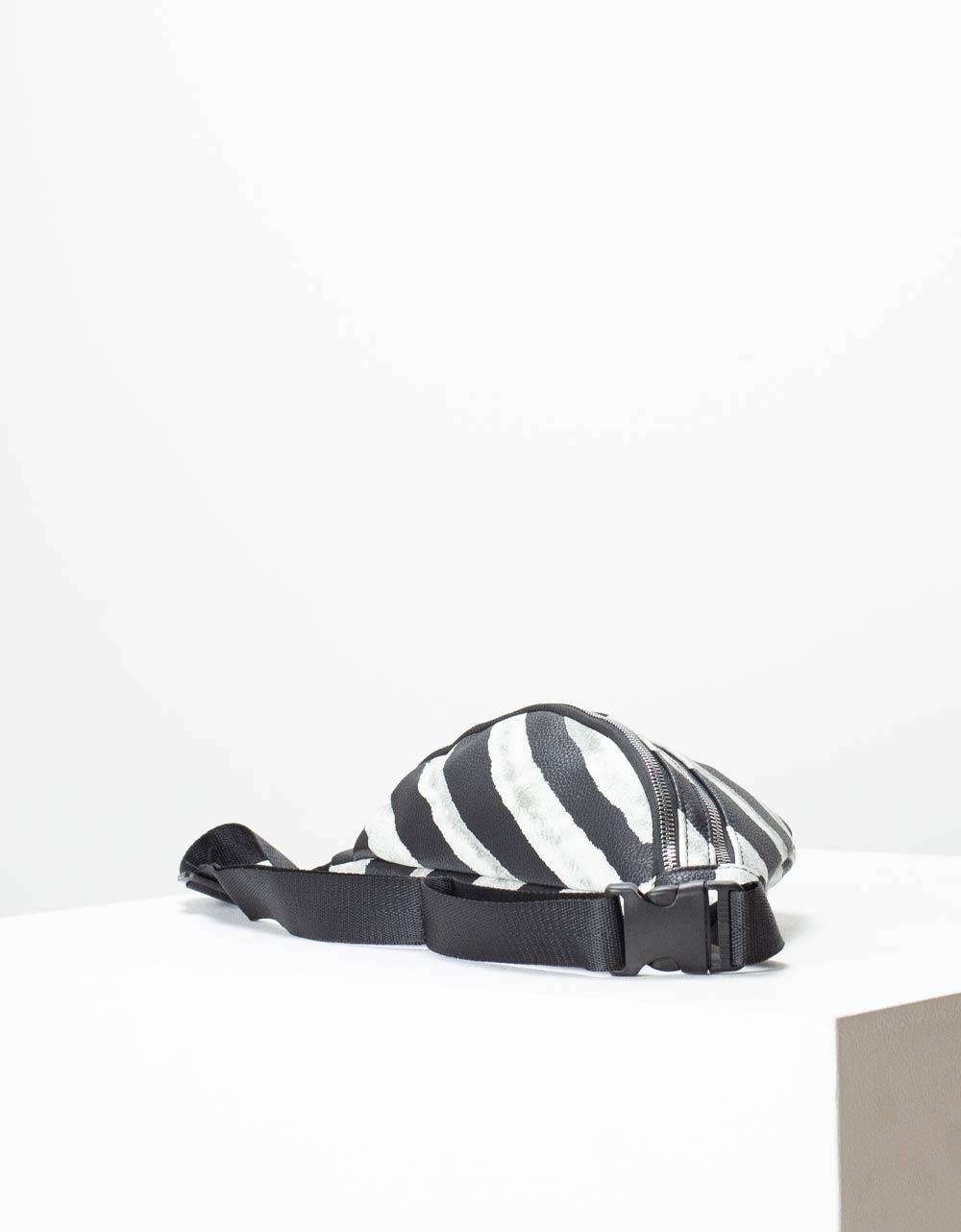 Εικόνα από Γυναικεία τσάντα μέσης με σχέδιο Λευκό/Μαύρο